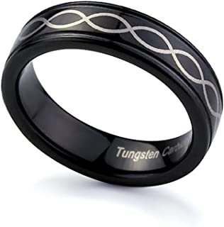 Double Accent Black Tungsten Wedding Band Ring For Men & Women 6MM Comfort Fit Laser Infinity Design Engraved