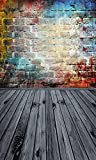 Fondo de fotografía de Pared de ladrillo de Graffiti Viejo pelado cumpleaños recién Nacido niño Estudio Retrato Foto de Fondo Foto A1 5x3ft / 1.5x1m