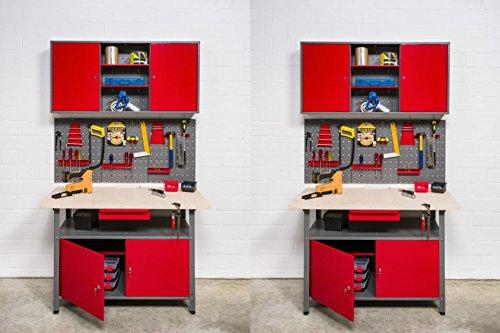 Kreher XXL Werkstatt: 2 Werkbänke mit abschließbaren Türen und Schublade, 2 Hängeschränke und zwei Werkzeugwände, Lochwände mit Hakensortiment. Metall, einbrennlackiert in Rot/Grau.
