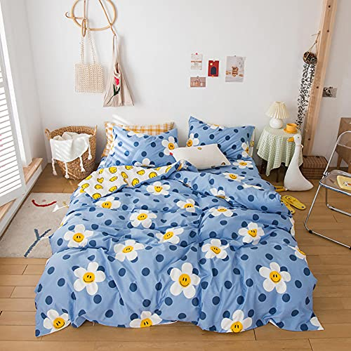 Cartoon Smile Flowers Printed Duvet Cover Set Smiley Dots Reversible Blue Bedding Set Nordic Comforte Kids Adult Home Bedding Set, Super King Size, 3 Piece (1 Quilt Cover 2 Pillowcases)