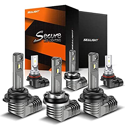 SEALIGHT H11/H9/H8 Low Beam 9005/HB3 High Beam LED Headlight Bulbs 9140/9145/H10 Fog Lights Combo 1 by 1 Mini Design with Fan 6000K Cool White CSP Chips Lighting Replacement