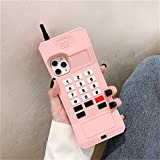 Joyleop Pink Retro 3D Classic Shaped Case for iPhone 11 Pro Max 6.5', Cute Cartoon Cover, Kids Girls Soft Silicone Gel Rubber Character Cellular Phone Cases,Funny Unique Protector for iPhone11 Pro Max