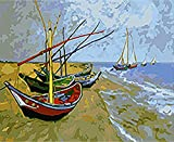 Los principiantes adultos y niños de pintura digital de bricolaje pueden pintar numerando. Apto para oficina salón cocina y dormitorio Barco océano 40 x 50 cm (sin borde)
