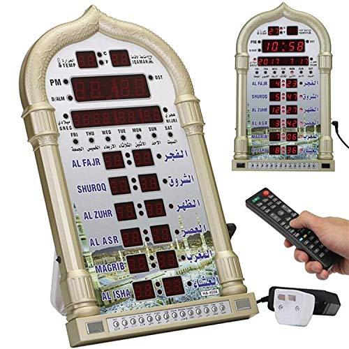 ROYAL WIND Automatic Islamic Azan Muslim Prayer Alarm Wall Table Home Clock Adhan Qibla Salah Prayer Calendar Alarm Clock Masjid Clock with Complete Azan for All Prayer