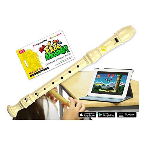 VoggenreiterBlockflöte aus Kunststoff für Kinder ab 6 Jahre und Anfänger inkl.Flute Master(Lernsoftware App)-deutscheGriffweise in Farbe creme weiss