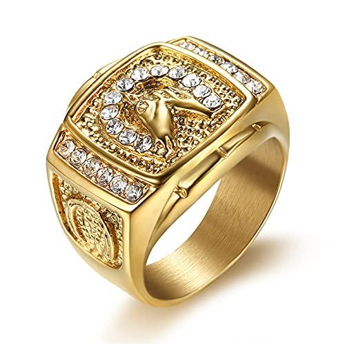FLQWLL Clásico Retro Anillo Cabeza Caballo Cristal, con Diamantes Imitación Plateado Anillo Oro Regalo Joyería Moda,Oro,8