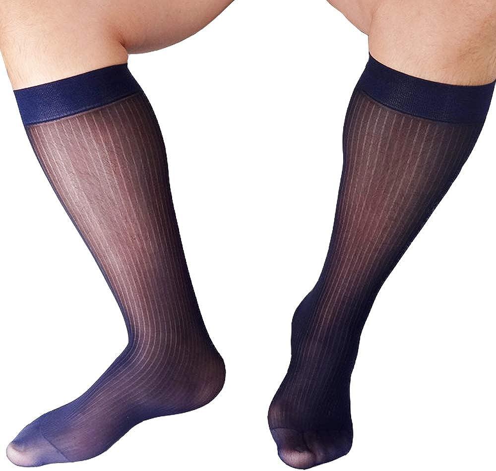 Mr.Babuu NEW 1Pair Mens wide striped sheer dress smooth silk chinlon socks 0033