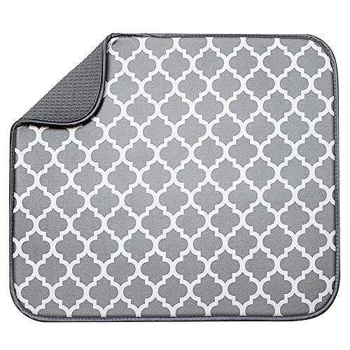 LouisaYork - Alfombrilla de microfibra para secar platos, diseño ligero, absorbente, ahorro de espacio, escurridor de cocina, secado rápido, 40 x 30 cm, color blanco