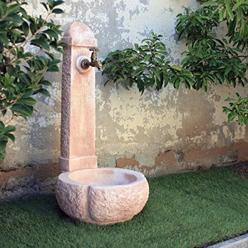 MAK Kam Fontana da Giardino Esterno in Cemento Pietra Modello Catania Colore Bianco