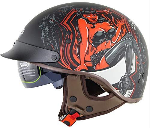 Casco Abierta De Moto, Gorra De Béisbol Retro Motocicleta Medio Casco Para Hombres Mujeres Gorra De Calavera Aprobadodot Biker Scooter Moped Chopperhelmet 2,M
