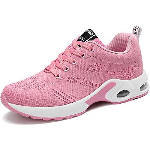 GAXmi Damen Laufschuhe Luftkissen Mesh Air Atmungsaktiv Turnschuhe rutschfest Stoßfest Sportschuhe Pink 39 EU