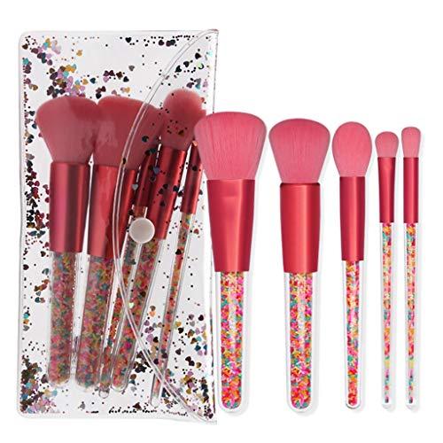 Pinceaux Sets, 5 Pièces Professionnelle Poudre Fard à Joues High Gloss Ombre à paupières Silhouette Brosse pinceaux de Maquillage avec PVC Emballage