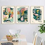 XMYC Cuadros de Pared Matisse Fauvismo Hoja Colorida Carteles e Impresiones nórdicos Abstractos Cuadros de Pared Decoración para Sala de Estar 3 Piezas 50x70cm sin Marco