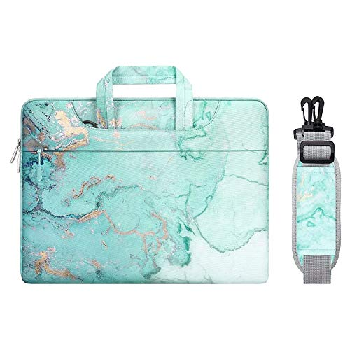 MOSISO Laptop Shoulder Bag Compatible with 13-13.3 inch MacBook Pro, MacBook Air, Notebook Computer, Polyester Watercolor Marble Carrying Briefcase Sleeve, Green