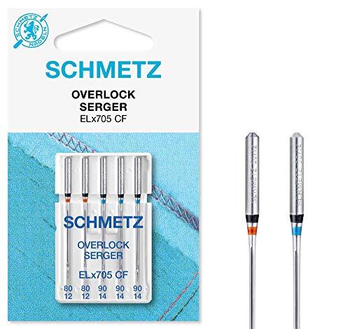 SCHMETZ Nähmaschinennadelset | 5 Overlock-Nadeln | Nadelsysteme ELx705 CF und SY 2022 | Nadeldicken: 2X 80/12, 3X 90/14
