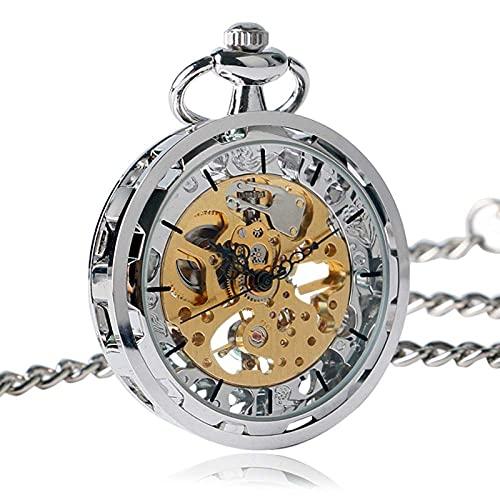 DZNOY Reloj de Bolsillo, Reloj para Hombres Mujeres Mano Relojes de Bolsillo mecánico Silver Gold Bronce Balck Colgante con Chian Reloj de Bolsillo (Color : Silver)