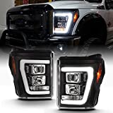 ACANII - For Black 2011-2016 Ford F250 F350 SuperDuty LED Light Tube DRL Projector Headlights Driver & Passenger Side