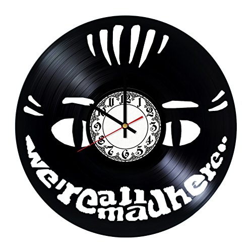 We're All Mad Here Alice in Wonderland Handmade Vinyl Record Wall Clock - Get unique room wall decor - Gift ideas for his and her – Modern Unique Home Art Design