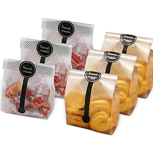 HomeChi Bolsas de plástico translúcidas para galletas, 100 bolsas de regalo con 100 pegatinas hechas a mano, sin olor, no tóxicas...