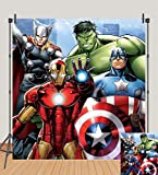 Avengers Backdrops Superhero Boys Kids Birthday Party Background Supercity Cospaly Baby Shower Banner Photography Cake Table Decoration Supplies Photo Studio Booth Props 6x6ft