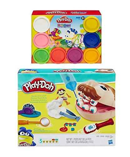 Play Doh Doctor Drill 'n Fill Play Set + Play Doh Rainbow Starter Set Bundle