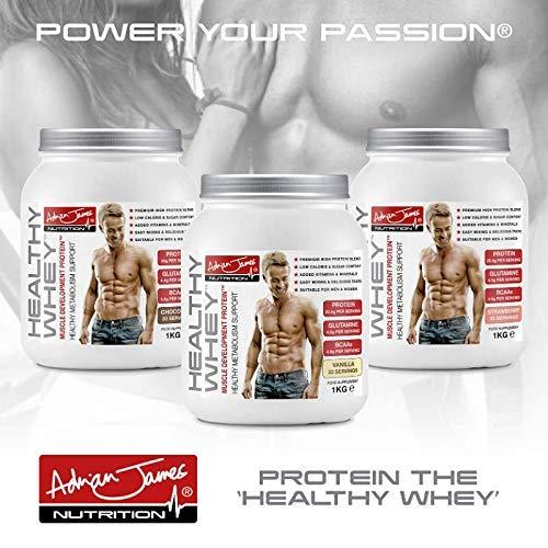 Adrian James Nutrition - Healthy Whey Protein Powder for Men & Women, Premium Grade Whey Protein Shake with BCAAs, Glutamine, Magnesium, Zinc, Vitamin D & B6, Chocolate Flavour, 33 Servings, 1 kg