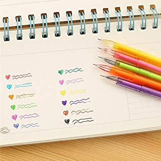 tianxiangjiaju 6 Pcs Colorful Pen Set, Diamond Head Design Color Highlighter Gel Pen for Adult Coloring Books Drawing Pain...