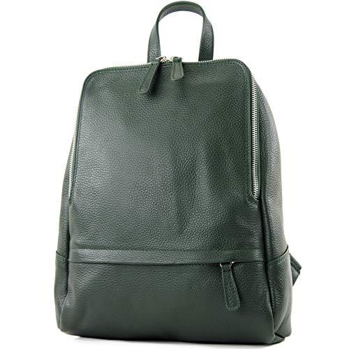 modamoda de - ital. Zaino in pelle Zaino donna Zaino Borsa Citybag in pelle T138, Colore:nero verde