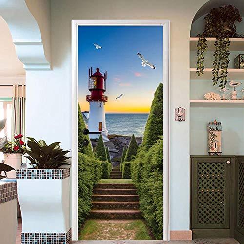 YMYGO Adesivo per Porta 3D Adesivo Faro sul mare Autoadesivo Adesivo Murale Art Poster Vetro Porte in Legno Impermeabile Adesivi Carta da Parati Poster Adesivo da Porta e pareti murale Foglio 88x200cm