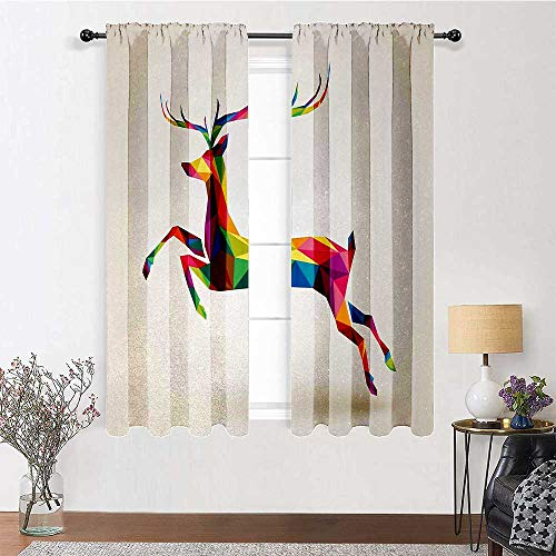 Kids Curtains Reindeer for Boy Girl Bedroom Geometric and Colorful Deer Figure with Fractal Look and Modern Style Xmas Theme 2 Panels 84' x 84' Multicolor