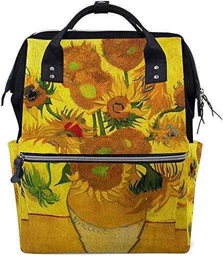 College Bag Van Gogh olieverfschilderij zonnebloem luiertas mummietas mummierugzak baby draagtas reizen stijlvolle waterdichte verzorging papa luier grotere capaciteit
