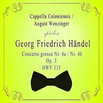 Cappella Coloniensis / August Wenzinger spielen: Georg Friedrich Händel: Concerto grosso NR. 4a / NR. 4b, OP. 3, Hwv 315 (Live)