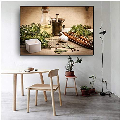 Wangchengp Keuken Canvas Schilderij Koken Supplie Cuadros Posters en Prints Restaurant Moderne Muur Kunst Voedsel Afbeelding Woonkamer Decor 60X120cm(23.6 * 47.2inch) No Frame