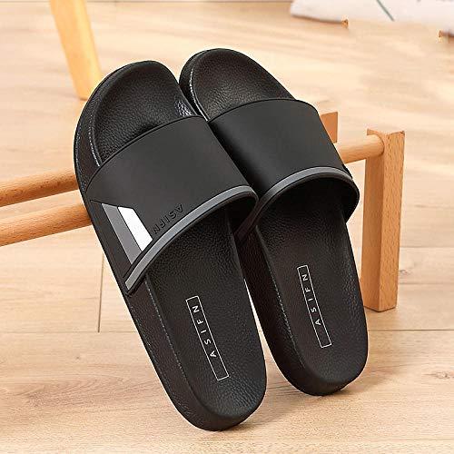 YYFF Sandalen schieben und Sommer,Paar Dicke Hausschuhe nach Hause rutschfest Sand-schwarz_42,Sommer Streifen Hausschuhe