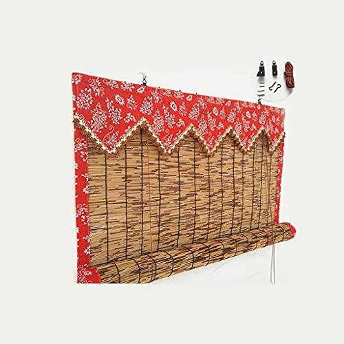 SILAAI Persiana Bambu Exterior - Persianas De Caña - Estores Enrollables, Ideal Persianas para Ventanas Y Puertas, con Accesorios De Instalación, Cocina Cortina De Madera