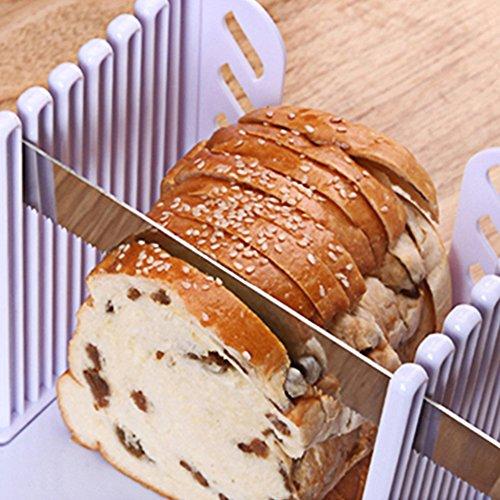Rebanador de pan de pan de grosor ajustable guía de corte de pan demasiado compacto plegable estante para rebanar tostadas con molde de corte blanco