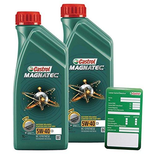 2x 1 L = 2 Liter Castrol Magnatec 5W-40 C3 Motoröl inkl. Castrol Ölwechselanhänger