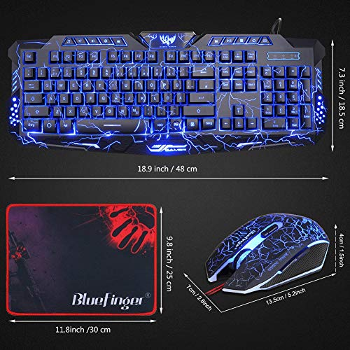 BlueFinger Gaming Keyboard and Mouse,USB Wired Backlit Gaming Mouse and Keyboard Combo,Letters Glow, 3 Color Crack Backlit,Illumination Keyboard and Mouse Set for Game and Work