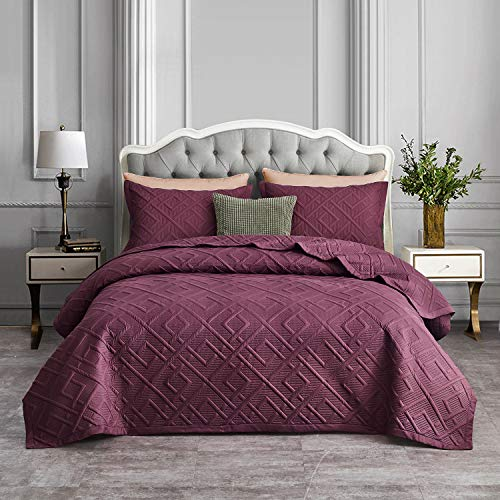 CHIXIN - Juego de colcha reversible de 3 piezas para cama de matrimonio, ligero y fino, para todas las estaciones, patrón de ventana liso (incluye 1 colcha y 2 fundas de almohada)