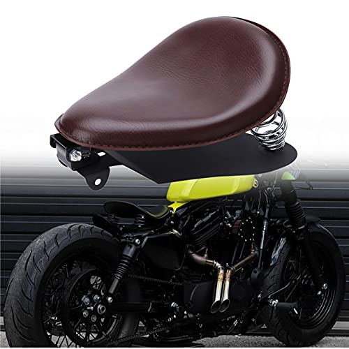 Custom Brown Motorcycle Leather Solo Seat with Spring Baseplate for Sportster XL 1200 883 48 Chopper Bobber Dyna Low