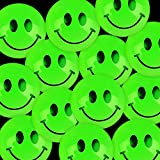 Kicko Glow in The Dark Smile Face Balls - 144 Pieces of Green, Glowing and Bouncing Balls - Perfect Item for Playing, Stress Reliever, Novelties, Party Favor and Supplies