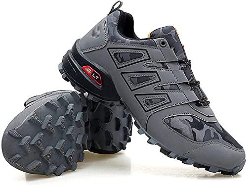HOOPOO Zapatos de Ciclismo para Hombres, Zapatos para Bicicletas Interiores sin Tacos Wearresistant Cómodo Camino y Zapatos de Bicicleta de montaña (Color : Gray, Size : EU43)