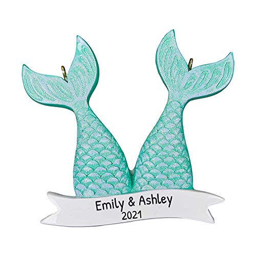 Personalized Mermaid Tales Couple Christmas Tree Ornament 2020 - Beautiful Happy Tail Together Underwater Princess Fairy-Tale Aqua Friend Pearl Baby Kid Daughter Holiday Year - Free Customization