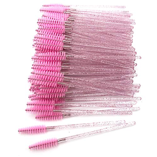 GreenLife 100pcs Crystal Eyelash Brush Disposable Mascara Brush Wands Eyelash Eyebrow Applicator (Crystal Pink)