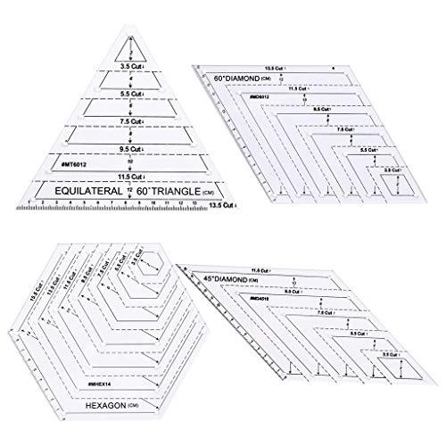 Haven Shop Quilting Lineal Vorlagen, 4-teiliges Set Quilting Sewing Patchwork Craft Scale Lineal Dreieck Hexagon DIY Handarbeit Schneider Home Tools