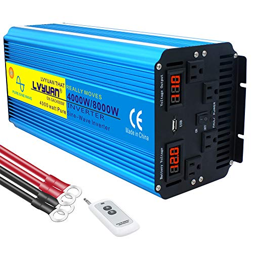 Yinleader Power Inverter 4000W Pure Sine Wave Converter 12V DC to 110V 120V AC with 4 AC Outlets + 3.1A USB Port, Remote Switch and 4 Battery Cables(8000W Peak) for RV Car Solar System Emergency
