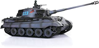 Remote Control RC Tank, HengLong 1/16 Scale German King Tiger RC Tank RTR Plastic Version with Sound and Smog Function Blue&Grey 3888A