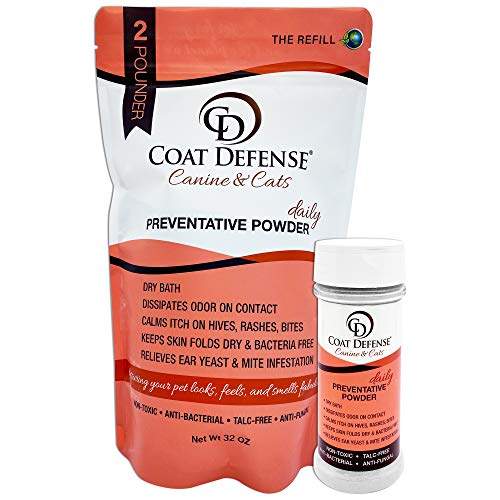 COAT DEFENSE Canine & Cat Powder Refill Bundle   Treats and Prevents Hot Spots, Itchy Skin, Bacterial and Fungal Skin Conditions   Excellent Dry Shampoo for Dry Baths   38 Ounce   Made in USA