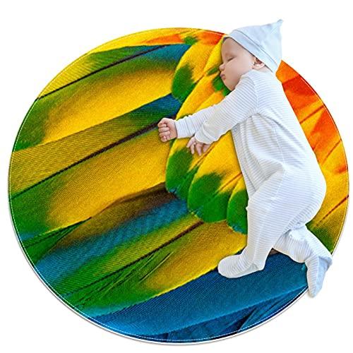Colorido guacamayo plumas de loro fondo antideslizante alfombra pequeña redonda lavable antideslizante para sala de estar, dormitorio, cocina, decoración del hogar 3.3 pies