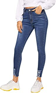 AMhomely Womens Stretchy Ripped Jeans Skinny Distressed Frayed Casual Denim Trouser Pants Womens Baggy Dungarees Long Playsuit Plus Size Pants//Dress Rompers UK Size 6-26